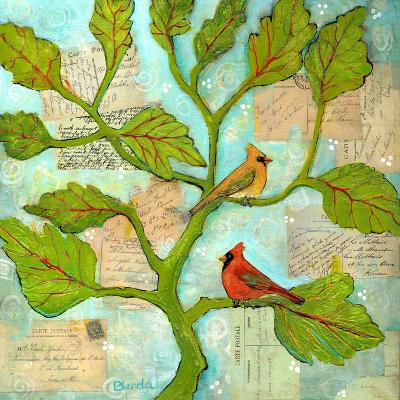 Cardinal Love Notes-Blenda Tyvoll-Art Print