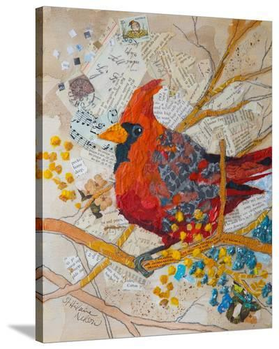 Cardinal On White--Stretched Canvas Print