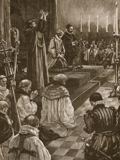 Cardinal Pole Reconciling the Realm of England to the Roman Communion--Giclee Print