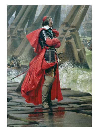 Cardinal Richelieu on the Sea Wall at La Rochelle, 1881-Henri-Paul Motte-Giclee Print