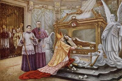 Cardinal Vico, the Papal Legate, before the Coffin of St. Therese of Lisieux--Giclee Print