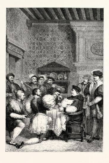 Cardinal Wolsey Is Served at Table by Nobles and Gentlemen--Giclee Print