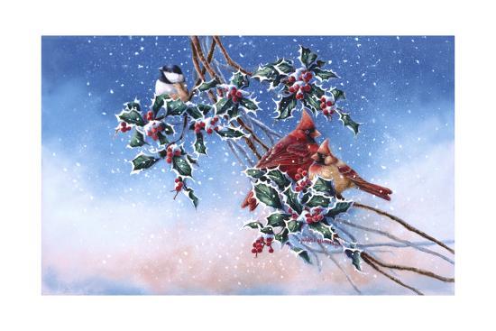 Cardinals and Chickadee-Wanda Mumm-Giclee Print