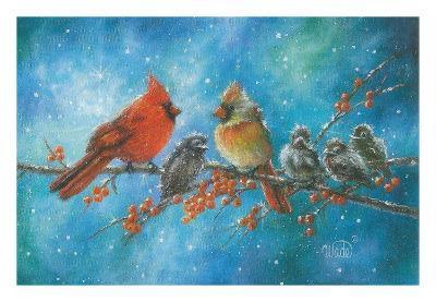 Cardinals Family-Vickie Wade-Art Print