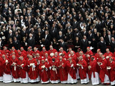 Cardinals, in Red, Participate in the Funeral Mass for Pope John Paul II--Photographic Print
