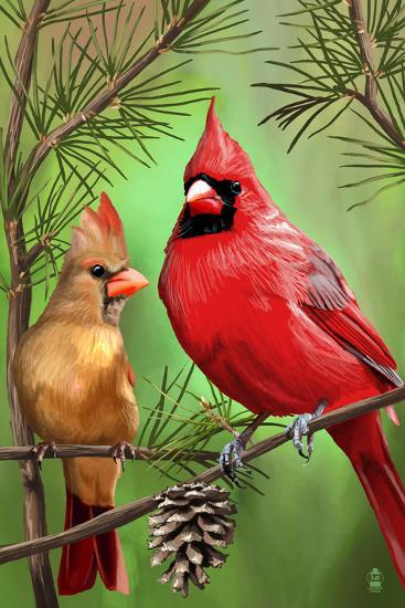 Cardinals in Summer-Lantern Press-Art Print