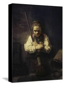 A Girl with a Broom by Carel Fabritius