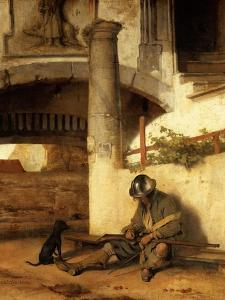 The sleeping sentinel (1654). by Carel Fabritius