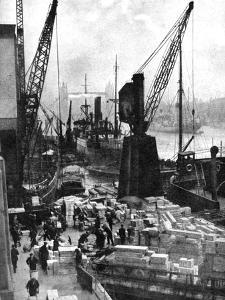 Cargo Being Unloaded at the Docks, Upper Pool, London, 1936