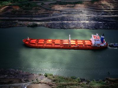 Cargo Ship at Gaillard Cut on the Panama Canal, Near Gamboa, Gamboa, Panama-Alfredo Maiquez-Photographic Print