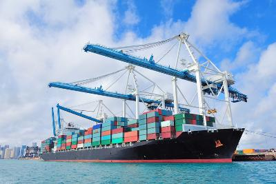 Cargo Ship at Miami Harbor with Crane and Blue Sky over Sea.-Songquan Deng-Photographic Print