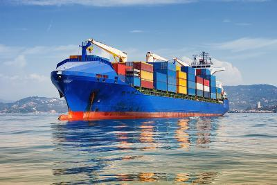 Cargo Ship Full of Containers-ilfede-Photographic Print