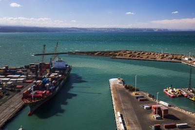 Cargo Ship in Napier Port, Hawkes Bay Region, North Island, New Zealand, Pacific-Matthew Williams-Ellis-Photographic Print