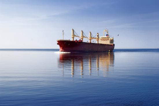 Cargo Ship Sailing in Still Water-aleksey.stemmer-Photographic Print