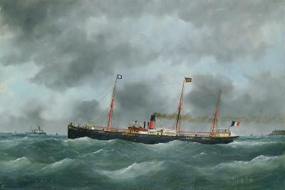 Cargo Steamship Flying the Flag of the Le Havre Peninsular Company--Giclee Print