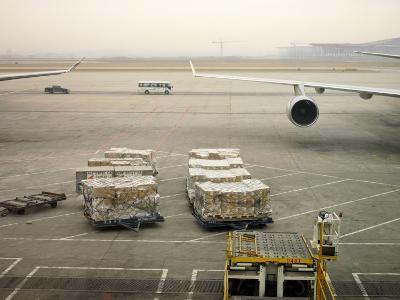 Cargo Waiting to Be Loaded onto Planes at the Beijing Airport-xPacifica-Photographic Print