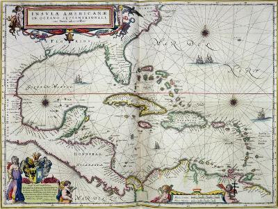 """Caribbean and Central America: from the Atlas """"Toonneel Des Aer Drycx"""", Vol II, Published, 1650-Joan Blaeu-Giclee Print"""
