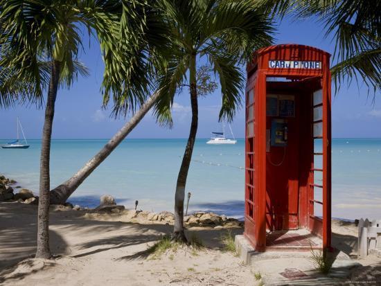 Caribbean, Antigua, Dickenson Bay, English Red Telephone Box-Gavin Hellier-Photographic Print