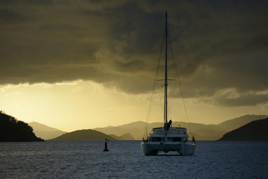 Caribbean, British Virgin Islands, Tortola. Catamaran at Soper's Hole-Kevin Oke-Photographic Print