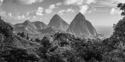 Caribbean, St Lucia, Petit and Gros Piton Mountains (UNESCO World Heritage Site)-Alan Copson-Photographic Print