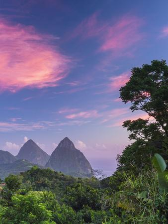 Caribbean, St Lucia, Petit and Gros Piton Mountains ...