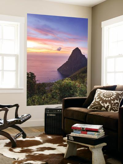 Caribbean, St Lucia, Petit Piton and Anse Des Pitons Beach-Michele Falzone-Wall Mural
