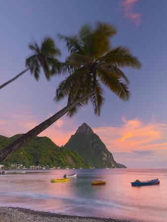 Caribbean, St Lucia, Soufriere Bay, Soufriere Beach and ...