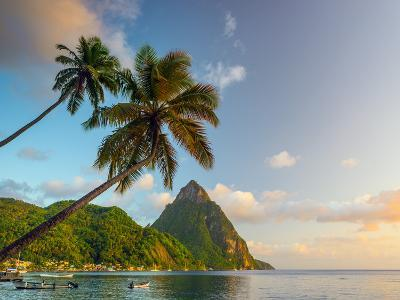 Caribbean, St Lucia, Soufriere Bay, Soufriere Beach and Petit Piton, Traditional Fishing Boats-Alan Copson-Photographic Print