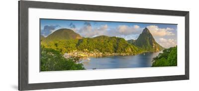Caribbean, St Lucia, Soufriere, Soufriere Bay, Petit Piton (UNESCO World Heritage Site)-Alan Copson-Framed Photographic Print