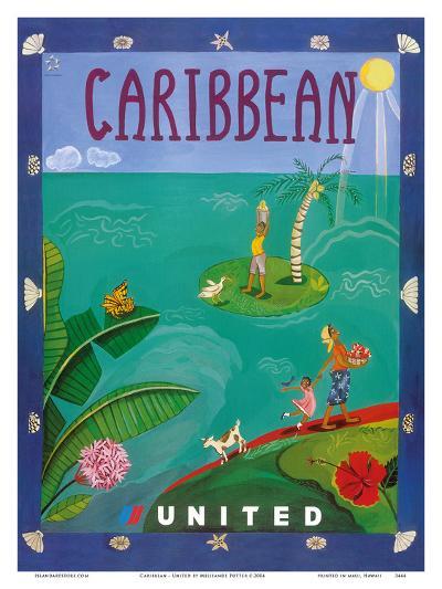 Caribbean - United Air Lines-Melisande Potter-Art Print