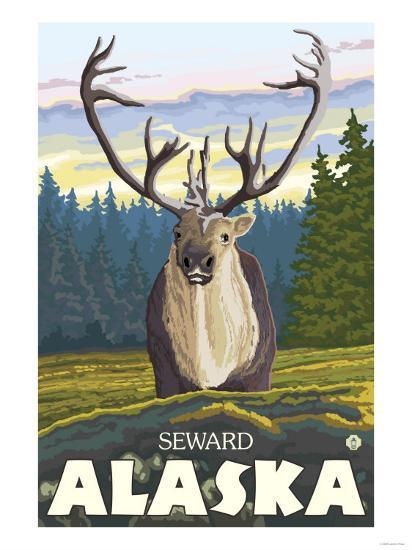 Caribou in the Wild, Seward, Alaska-Lantern Press-Art Print