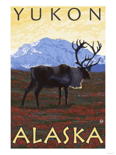 Caribou Scene, Yukon, Alaska-Lantern Press-Art Print