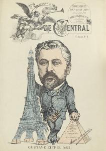"""Caricature de Gustave Eiffel, parue dans """"le Central"""""""