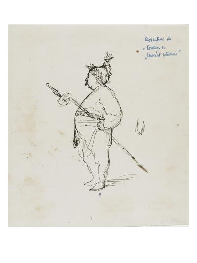 Caricature de Thomas Couture par lui-même au cours d'un repas en compagnie de M.Dugleré-Thomas Couture-Giclee Print