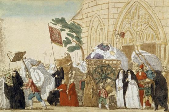 Caricature Depicting the Departure of the Clergy During the French Revolution--Giclee Print
