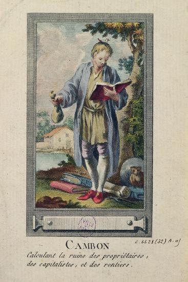 Caricature of Cambon Calculating the Ruin of the Proprietors, the Capitalists and the Rentiers--Giclee Print