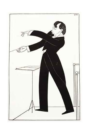 Caricature of Conductor Serge Koussevitzky--Giclee Print