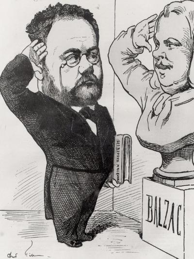Caricature of Emile Zola Saluting a Bust of Honore de Balzac 1878-Andr? Gill-Giclee Print