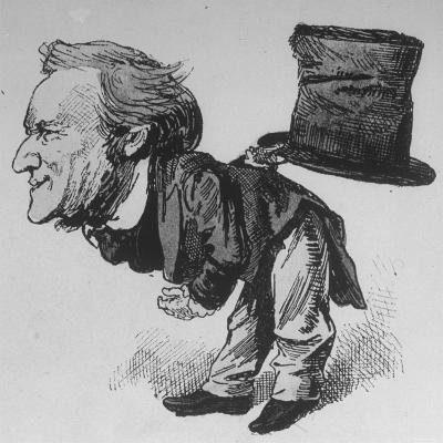 Caricature of German Composer and Poet Richard Wagner Taking Curtain Call in Leipzig--Photographic Print