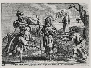 Caricature of Luther, Calvin and Menno Simons Disputing Christ and His Teaching