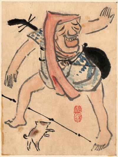 Caricature of Musician or Actor Dancing with a Cat at His Feet Ki--Giclee Print