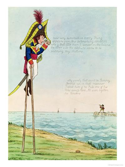 Caricature of Napoleon Standing on Stilts Observing Pitt and England Across the Channel--Giclee Print