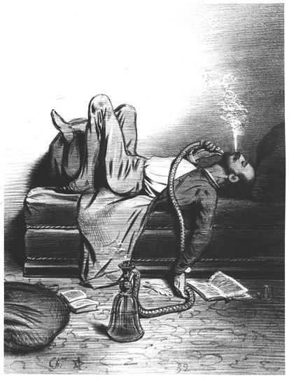 Caricature of the Romantic Writer Searching His Inspiration in the Haschisch, circa 1849--Giclee Print