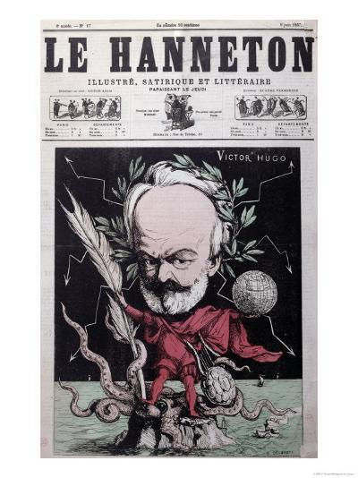 """Caricature of Victor Hugo as Zeus in Exile on Guernsey from the Front Cover Of""""Le Hanneton""""-G^ Deloyoti-Giclee Print"""