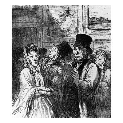 Caricature of Visitors to an Art Exhibition before a Painting by Gustave Moreau-Honore Daumier-Giclee Print