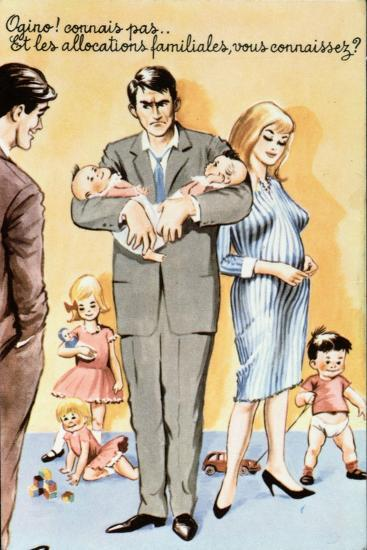 Caricature Postcard Referring to Contraception, C.1960--Giclee Print