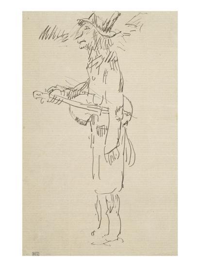 Caricature, violoniste, profil gauche-Pierre Puvis de Chavannes-Giclee Print