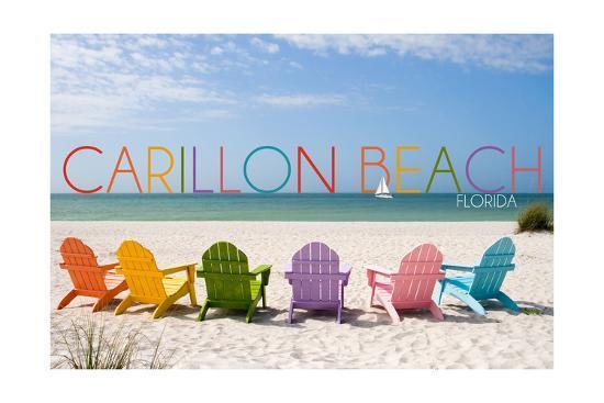 Carillon Beach, Florida - Colorful Beach Chairs-Lantern Press-Art Print