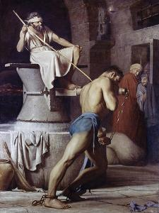 Samson on the Treadmill, c.1863 by Carl Bloch