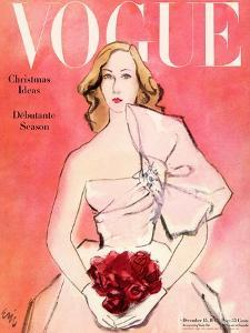 """Vogue Cover - December 1945 - Everthing's Coming Up Roses by Carl """"Eric"""" Erickson"""